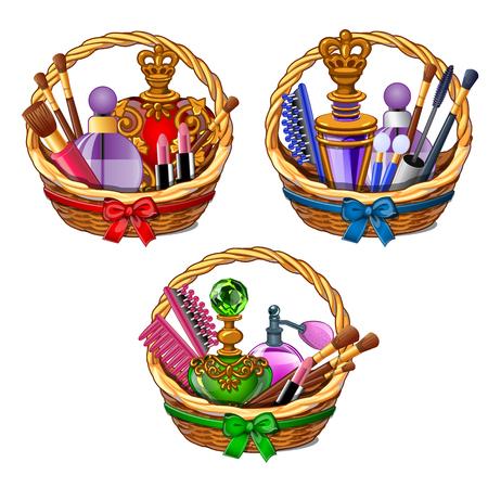 Drie rieten manden met kosmetische reeks - make-upborstels, parfum, lippenstift. Vrouwelijke schoonheid luxe kit. Meisjesdingen in beeldverhaalstijl. Vectorillustratie geïsoleerd op witte achtergrond