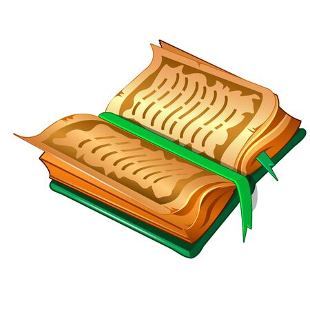 Ancient book with parchment sheets and green cover and bookmarking. Illustration