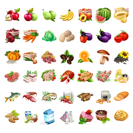 Fruits, vegetables, meat products, beer, snack, milk and dessert set. 42 icons of food in cartoon style. Big vector collection for eat, cook design projects. Illustration isolated on white background. Illustration