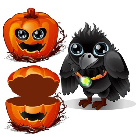 Raven and box of pumpkins. Halloween characters. Bird wears pendant with emerald stone and gourd carved with terrible face. Vector illustration in cartoon style isolated on a white background Ilustração