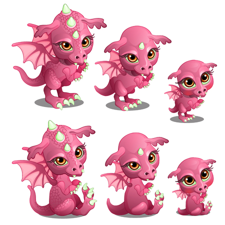 Pink cute dragon of different ages, growth, sits, stands. Fairy cartoon animal for animation, childrens illustrations and other design needs. Vector isolated on white background