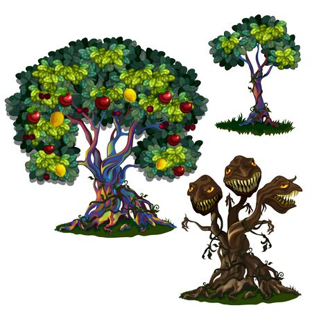Magic tree with apples and lemons and three-headed monster. Three stages of fairy tree, growing, blooming and turning into predatory monster Illustration