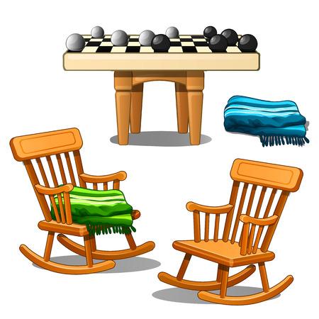 Deux chaises à bascule, plaid et carreaux verts et bleus. Confort, jeux de société, confort. Illustration vectorielle isolée sur fond blanc Vecteurs
