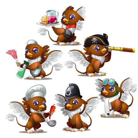 Griffins in six different characters - pirate, military, waiter, chef, maid, aviator. Fairy animals for animation, childrens illustrations, book and other design needs. Vector isolated on white