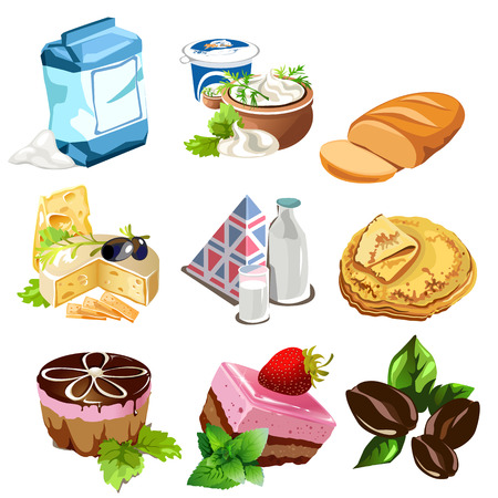 Desserts, dairy products, coffee beans and other food in cartoon style. Illustration