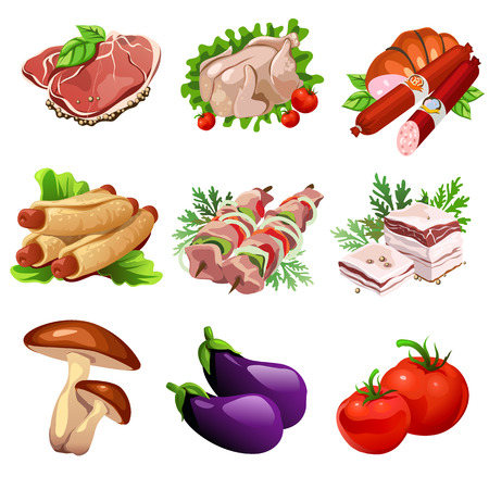 Meat products and vegetables. Food in cartoon style. Big vector set of nine icons for culinary design projects. Illustration isolated on white background Illustration