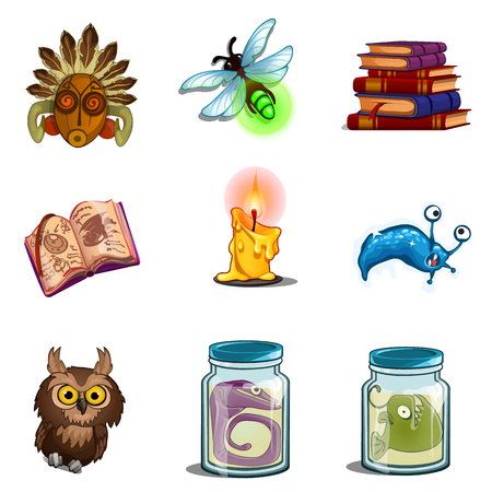 Halloween symbols - owl, mask, insect, book of spells, formalin mutant, candle. Nine vector icons set isolated on white background Stock Vector - 86388052