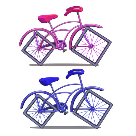 Pink and blue bicycle with square wheels isolated on white background. Vector illustration in cartoon style Illustration