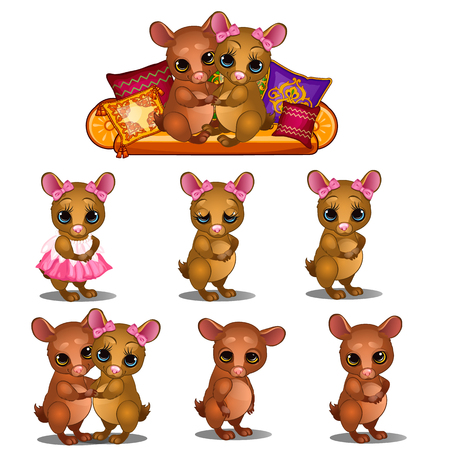 loving couple of mice and different pets emotions. Cartoon animals character for animation, childrens illustrations, book and other design needs. Vector isolated on white background
