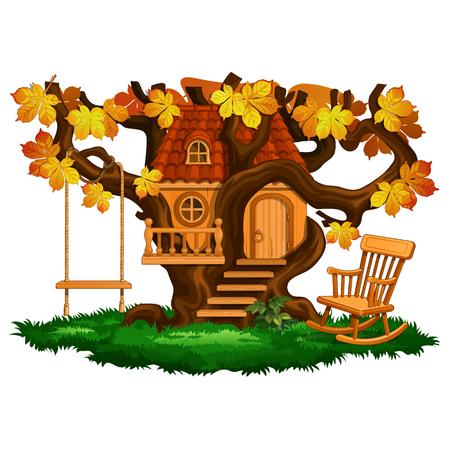 Fabulous tree house, swing and rocking chair, autumn season. Cartoon landscape scene. Vector illustration isolated on white background