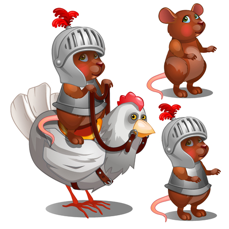 Beaver knight on chicken. Cartoon animals character for animation, childrens illustrations, book and other design needs. Vector isolated on white background