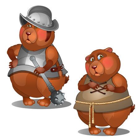 peasant: Thick beaver in simple clothes and knightly armor with mace.