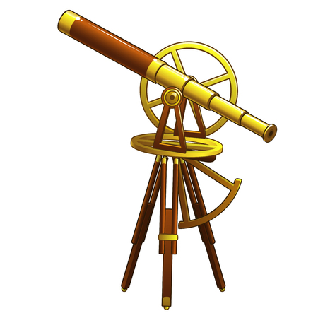 Telescopio astronómico antiguo dorado. Ilustración de vector aislado sobre fondo blanco