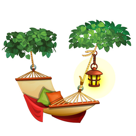 Hammock stretched between trees and lantern. Cozy resting scene outdoors. Vector composition in cartoon style. Illustration isolated on white background