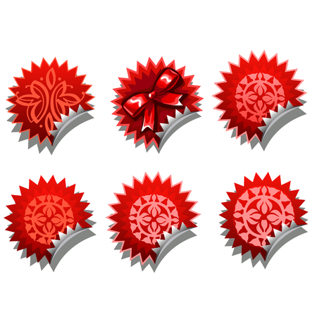 Set of red hedgehogs stickers from different ethnic pattern and bow. Vector illustration isolated on white background