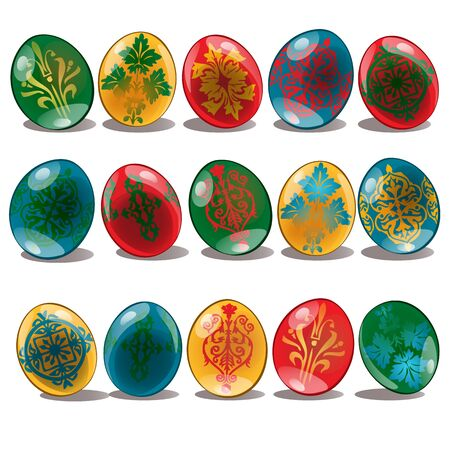Easter eggs with ethnic and floral pattern yellow, red, blue, green color. Set of holiday symbols. Vector illustration isolated on white background Illustration