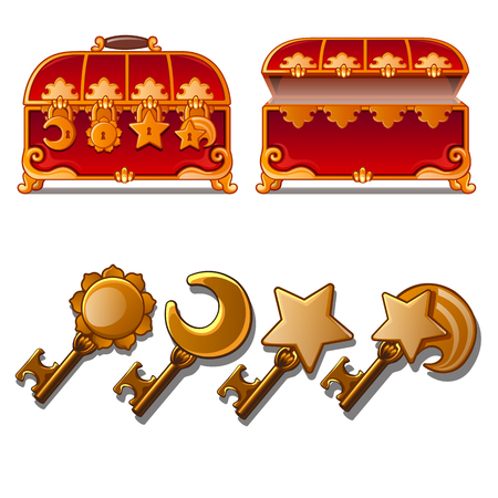 Ancient chests and keys icon.