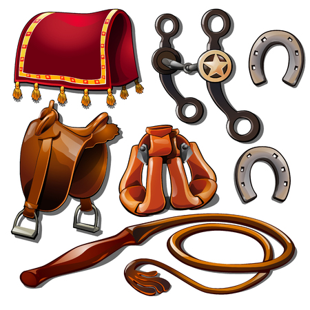 Attributes of cowboy and horse accessories. Set of seven Wild West icons isolated on white background. Vector illustration in cartoon style