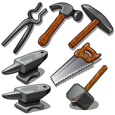 Outil de travail du forgeron et du charpentier. Sept icônes isolées sur fond blanc. Illustration vectorielle en style cartoon