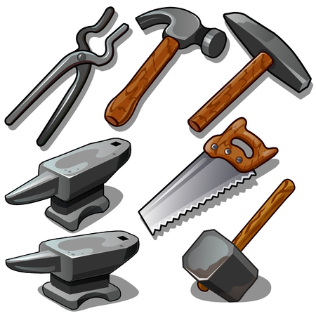 Working tool of blacksmith and carpenter. Seven icons isolated on white background. Vector illustration in cartoon style