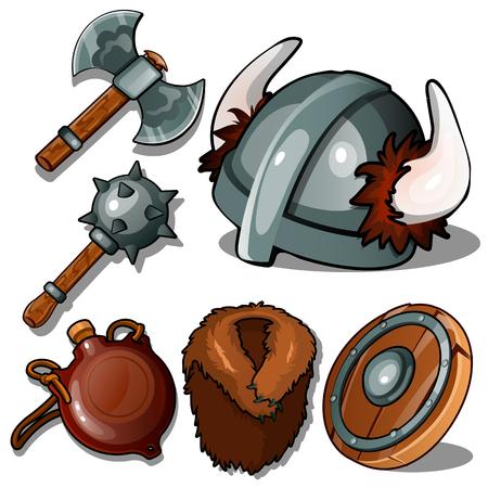 Antike Kleidung und Waffen von Wikinger. Standard-Bild - 88212726