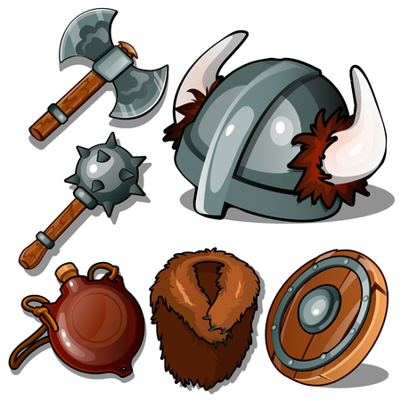 Ancient clothes and weapons of Vikings.