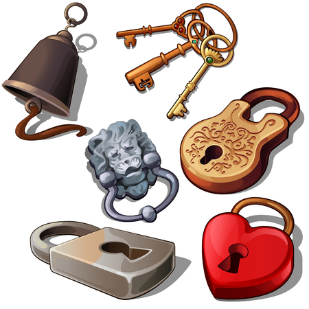 Ancient, modern and romantic padlocks with keys and door bell. Illustration