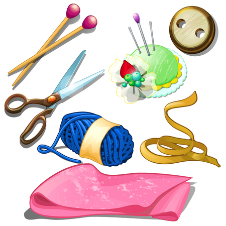 Tools and materials for seamstress needles, scissors, fabric and other stuff for tailor craft.