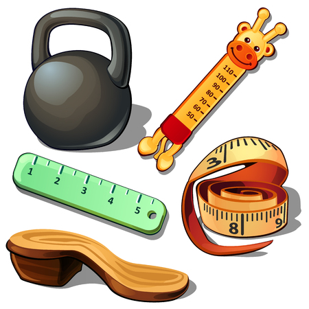 cast iron: Weight, thermometer, measuring tape, ruler and wooden shoe. Set of five items isolated on white background. Vector illustration in cartoon style