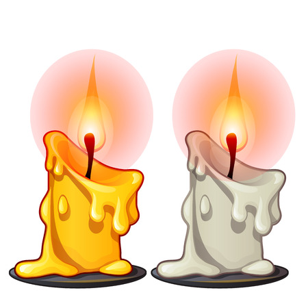 Two burning wax candles, white and yellow color. Illustration