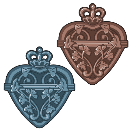 Ancient bottle or talisman in shape of heart with royal crown and floral ornament. Vintage product in cartoon style. Vector illustration isolated on white