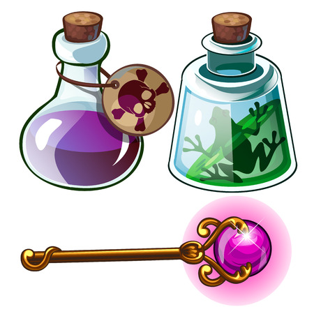 Toxic poison, frog in bottle and wizards golden wand.