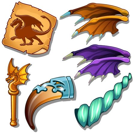 scepter: Dragon set - wings, picture on parchment. magic horn and golden rod with dragon figure. Magic collection of six items for games, mobile apps and other design needs. Vector isolated on white background Illustration