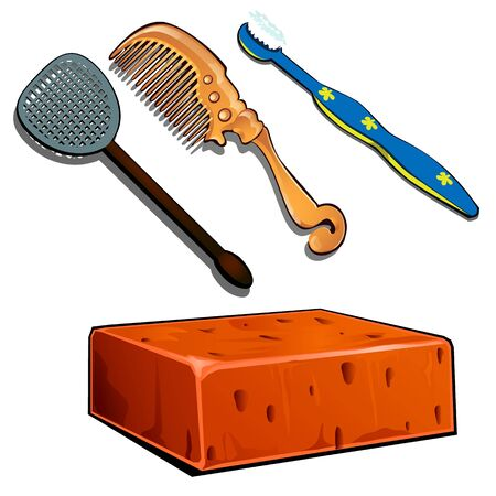 Toothbrush, hair brush, fly swatter and brick. Set of four items isolated on white background. Vector illustration in cartoon style Illustration