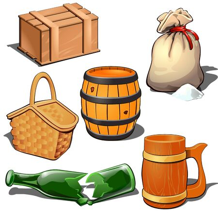 Wooden box, barrel, canvas sack with bulk product, picnic basket, broken bottle and beer mug. Thematic six icons isolated on white background. Vector illustration in cartoon style