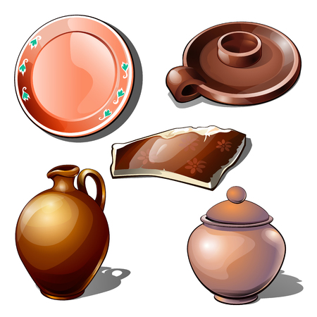 Clay jugs, utensils and fragment with floral ornament. Thematic five icons isolated on white background. Vector illustration in cartoon style