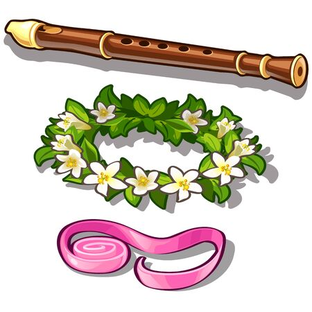 woodwind: Flute, flower wreath and pink tape. Set of three items isolated on white background. Vector illustration in cartoon style