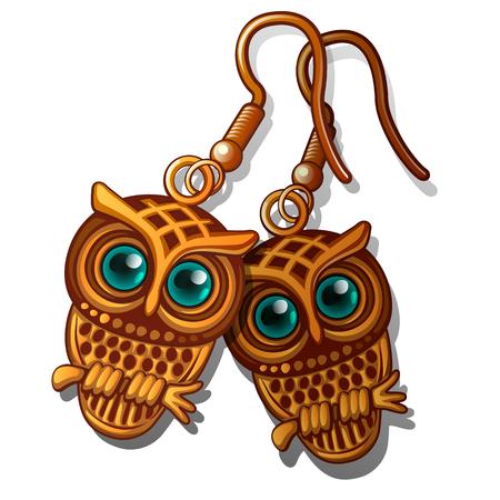 Gold vintage earrings owls. Illustration
