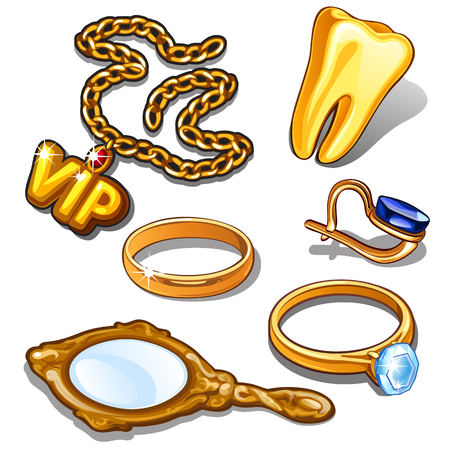 diamond earrings: Gold items of rich man.