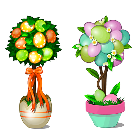 Two trees with leaves and colorful Easter eggs in stylized pots. Symbol and decoration for holiday. Vector illustration in cartoon style isolated on white background