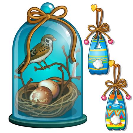 Gorrión con nido y huevos debajo de la cúpula y conejitos de papel colgando de una uña. Ilustración vectorial aislado sobre fondo blanco
