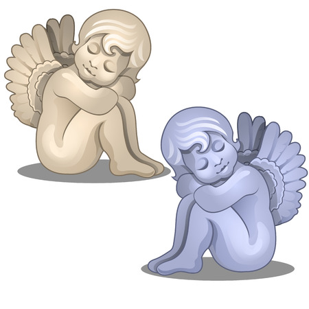 Sculpture baby angel illustration.