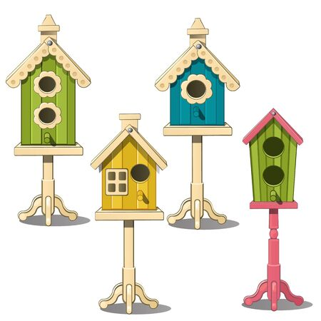 starling: Four birdhouses on a stand. Green, yellow, blue bird house. Vector Illustration in cartoon style isolated on white background