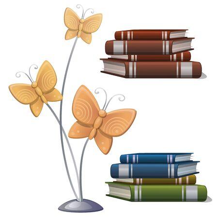 Books and interior decor butterflies.