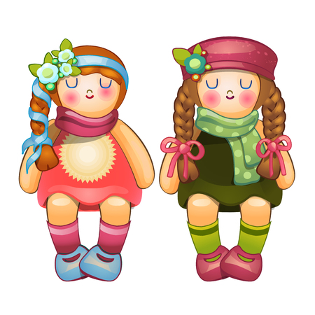 Beautiful stuffed dolls girls with long braids. Childrens toy. Vector Illustration in cartoon style isolated on white background
