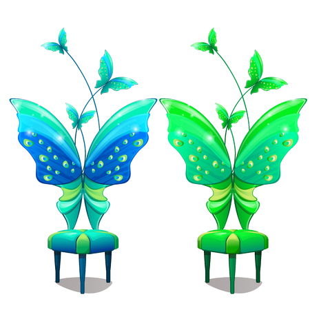 Chairs with butterfly-shaped back. Blue and green part of interior furniture in fairy-tale cartoon style. Armchair for fairies. Vector Illustration isolated on white background