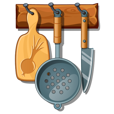 Cutting board, colander, knife. Set of kitchen implements on wooden rack. Collection of home cookware. Vector Illustration in cartoon style isolated on white background