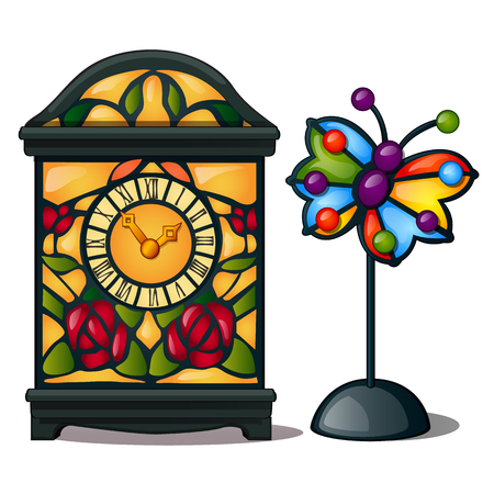 Ancient clock with flowers and decorative multi-colored butterfly. Elegant classic stained glass, interior decoration. Vector Illustration in cartoon style isolated on white background