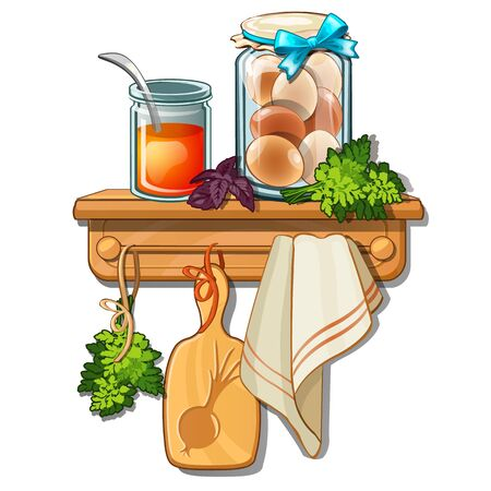 Bank with honey, eggs, greens, cutting board, towel. Collection of household utensils on wooden shelf and hanger. Vector Illustration in cartoon style isolated on white background