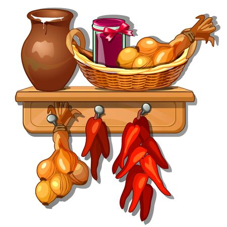 Homemade billet, in basket and on hanger. Provision from onions, jug of milk, pepper and jam jars. Vector Illustration in cartoon style isolated on white background